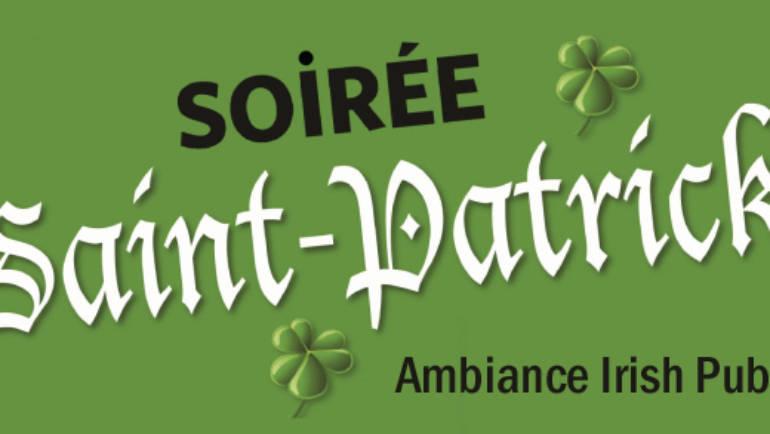 <span style='color:#8B1434;font-size:12px;'>Vendredi 22 mars</span><br> Soirée Saint-Patrick