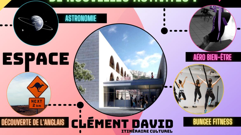 <span style='color:#8B1434;font-size:12px;'>A l'espace Clément David</span><br> NOUVELLES ACTIVITÉS